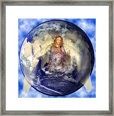 Angel Praying For World Peace Framed Print by The Kepharts