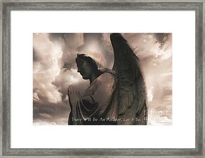 Angel Praying Heavenly Clouds Sepia Angel Art - Inspirational Angel In Prayer  Framed Print
