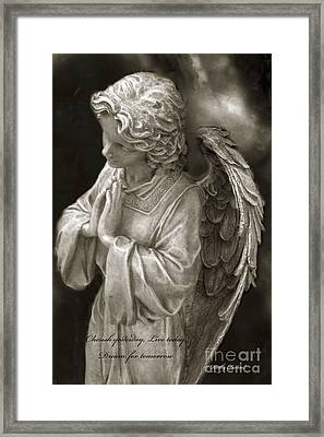 Angel Praying - Inspirational Angel Art Dreamy Surreal Angel In Prayer  Framed Print