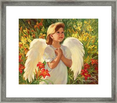 Angel Red And Yellow Framed Print by Laurie Hein