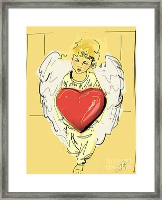 Angel Red Heart Framed Print