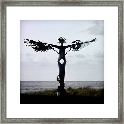 Angel Sculpture On The Oregon Coast Framed Print by Carol Leigh