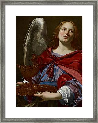 Angel With Attributes Of The Passion Framed Print by Simon Vouet