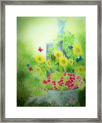 Angel With Butterflies And Sunflowers Framed Print by Melanie Palmer