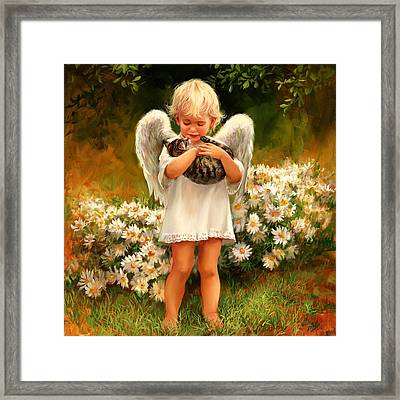 Angel With Cat Framed Print by Laurie Hein