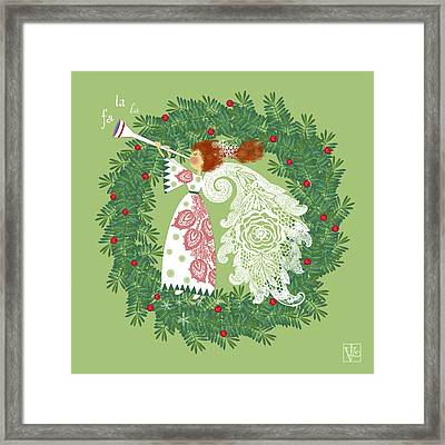 Angel With Christmas Wreath Framed Print