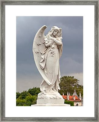 Angel With Cross Framed Print by Terry Reynoldson