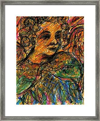 Angel With Gold Framed Print by Rachel Scott
