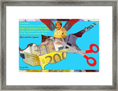 Angela Merkel Cyprus Haircut Framed Print by Augusta Stylianou
