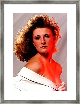Angela Red Leather Framed Print by Gary Gingrich Galleries