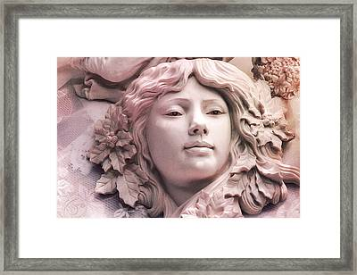 Angelic Female Face Portrait Sculpture Art Deco - Dreamy Pink Angel Face Framed Print by Kathy Fornal