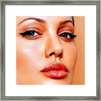 Angelina Jolie Acrylic On Canvas Framed Print