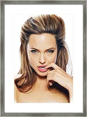 Angelina Jolie Artwork 2 Framed Print by Sheraz A