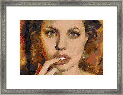 Angelina Jolie Klimt Style Digital Painting Framed Print by Costinel Floricel