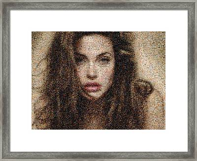Angelina Jolie Mosaic Framed Print by Bijan Studio