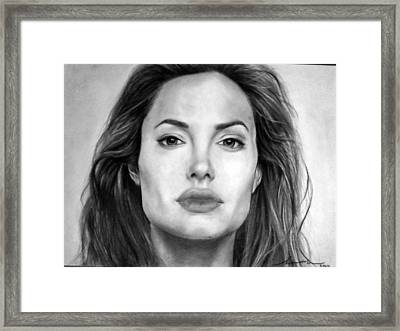 Angelina Jolie Original Pencil Drawing Framed Print by Murni Ch