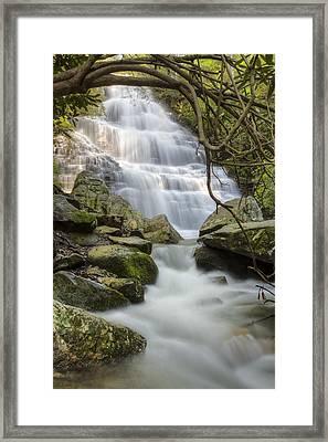 Angels At Benton Waterfall Framed Print by Debra and Dave Vanderlaan