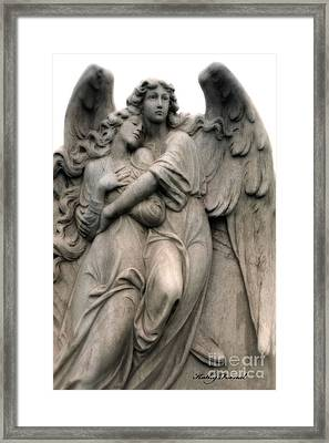 Angels Embracing - Angels Dreamy Romantic Angel Art - Guardian Angel Art  Framed Print