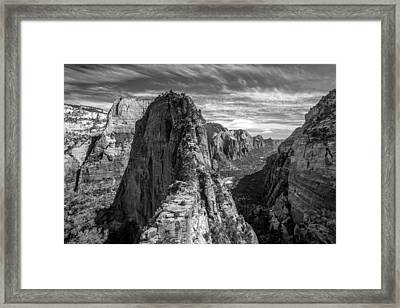 Angel's Landing In Black And White Framed Print