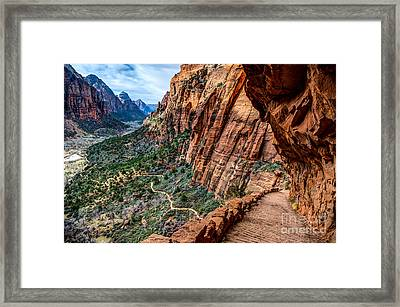 Angels Landing Trail From High Above Zion Canyon Floor Framed Print