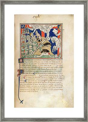 Angels Smite King And Warriors Framed Print by British Library