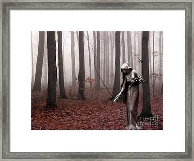 Angels Surreal Fantasy Female Figure In Woodlands Nature Haunting Landscape  Framed Print by Kathy Fornal