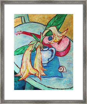 Framed Print featuring the painting Angel's Trumpet Flowers And A Ukulele by Xueling Zou