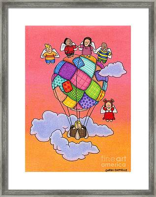 Angels With Hot Air Balloon Framed Print by Sarah Batalka