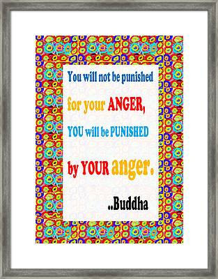 Anger Buddha Wisdom Quote Buddhism   Background Designs  And Color Tones N Color Shades Available Fo Framed Print