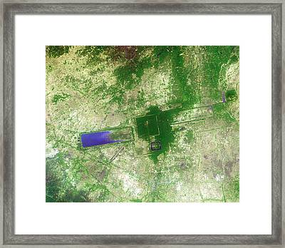 Angkor Framed Print by Nasa/gsfc/meti/japan Space Systems/u.s.,japan Aster Science Team