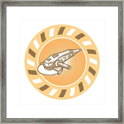 Angle Grinder Power Tool Woodcut Retro Framed Print by Aloysius Patrimonio