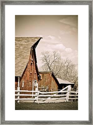 Angle Top Barn Framed Print by Marilyn Hunt