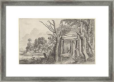 Angler In A Dilapidated Hut In A Landscape Framed Print by Jan Van De Velde Ii And Pieter De Molijn And Willem Pietersz. Buytewech