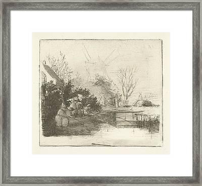 Anglers At A River, Henry Pauw Van Wieldrecht Framed Print by Henry Pauw Van Wieldrecht