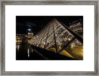 Angles And Lines Of The Louvre's Glass Pyramid With A Full Moon Framed Print by Sven Brogren