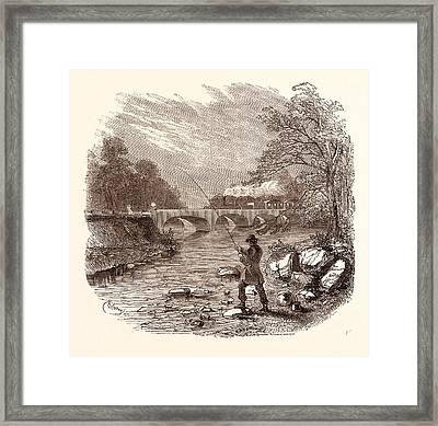 Angling, Fishing, Water, Fish, Fisherman Framed Print by English School