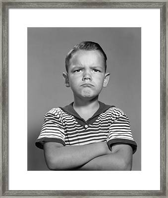 Angry Boy With Arms Folded, C.1960s Framed Print by H. Armstrong Roberts/ClassicStock