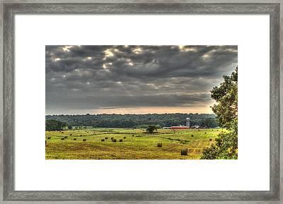 Angry Clouds Over The Farm Framed Print by Douglas Barnett
