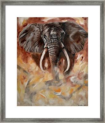 Angry Elephant Framed Print by Jamal Al Jomaily