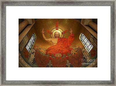 Angry God Mosaic At The Shrine Of The Immaculate Conception In Washington Dc Framed Print