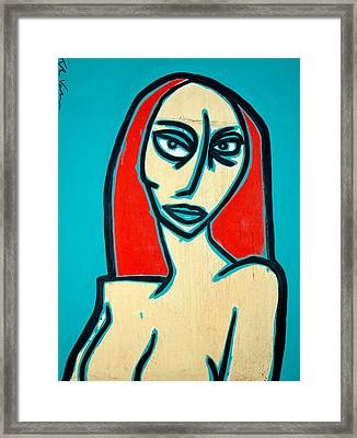 Angry Jen Framed Print by Thomas Valentine