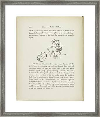 Angry Little Boy Throwing A Large Pumpkin Framed Print by British Library