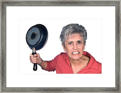 Angry Mother And Frying Pan Framed Print