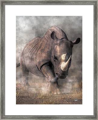 Angry Rhino Framed Print by Daniel Eskridge