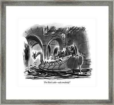 Angry Woman To Shrouded Figure Steering Ancient Framed Print by Lee Lorenz