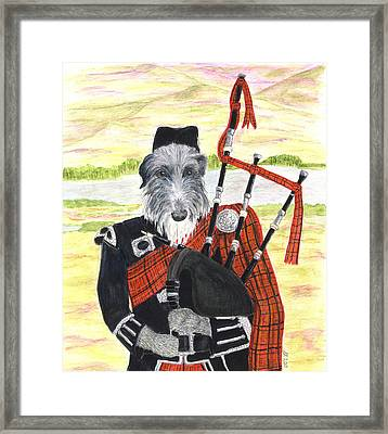 Angus The Piper Framed Print by Stephanie Grant