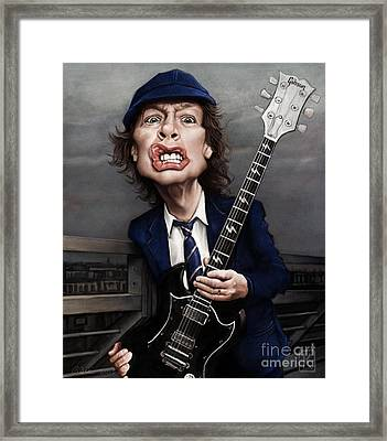 Angus Young Framed Print by Andre Koekemoer