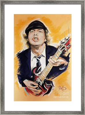 Angus Young Framed Print by Melanie D