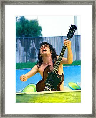 Angus Young Of A C D C At Day On The Green Monsters Of Rock  7-21-79  Framed Print by Daniel Larsen