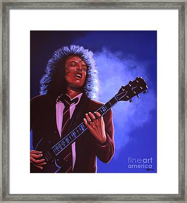 Angus Young Of Ac / Dc Framed Print by Paul Meijering